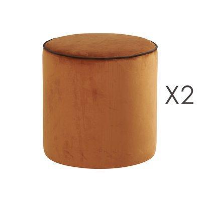 Lot de 2 poufs Countra Orange Brûlé/Chocolat Diam40xH40cm