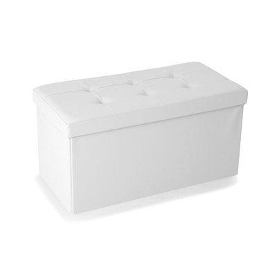Pouf PVC de rangement avec couvercle blanc