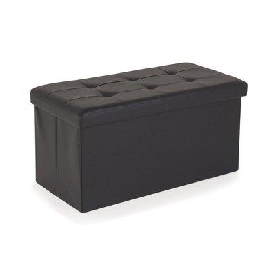 Pouf PVC de rangement avec couvercle noir
