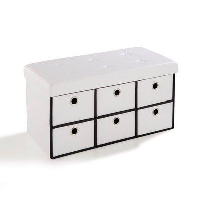 Pouf PVC avec tiroirs de rangement blanc