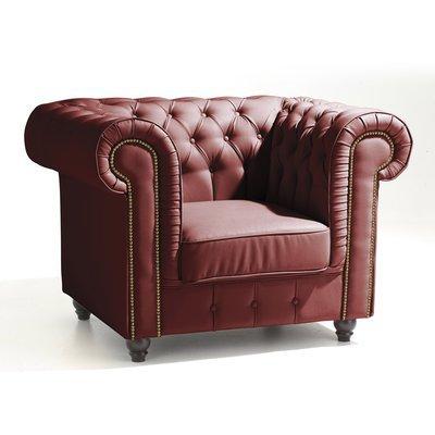 Fauteuil Chesterfield en cuir coloris rouge