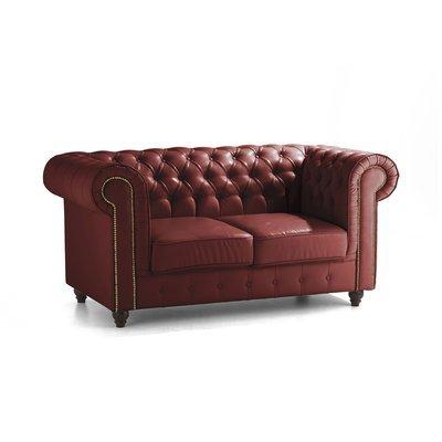 Canapé Chesterfield 2 places en cuir rouge