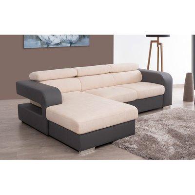Canapé d'angle à gauche coloris gris écru - JUPITER