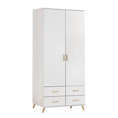 Armoire 2 portes 4 tiroirs - bois naturel