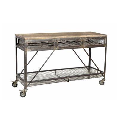 Console 3 tiroirs à roulettes en manguier et métal