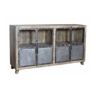 Buffet 4 portes en manguier et métal
