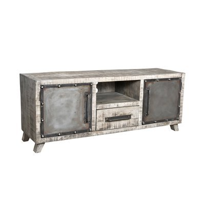 Meuble TV  2 portes 1niche 1 tiroir en manguier et métal