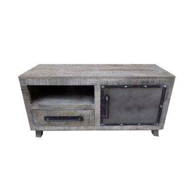 Meuble TV 1 porte 1 niche 1 tiroir en manguier et métal