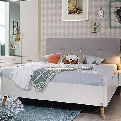 Lit 90x200 cm avec chevet décor bois blanc et gris - MADI