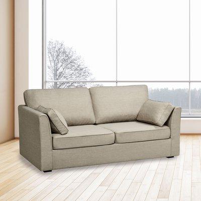 Canapé 3 places fixe en microfibre gris - CHARLES