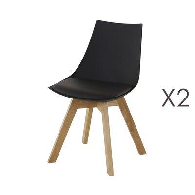 Lot de 2 chaises repas en PU noir - YSTAD