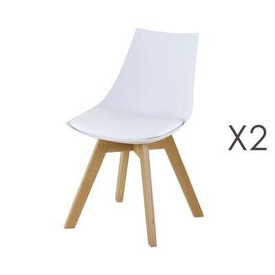 Lot de 2 chaises repas en PU blanc - YSTAD