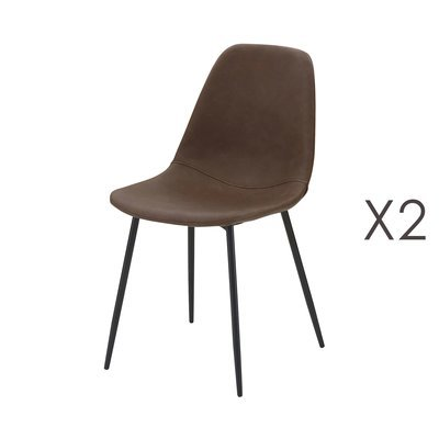 Lot de 2 chaises repas en PU marron - INDUSTRIO