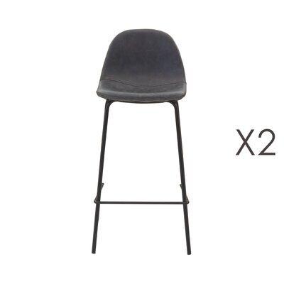Lot de 2 chaises de bar en PU noir vieilli - INDUSTRIO