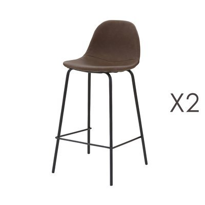 Lot de 2 chaises de bar en PU marron - INDUSTRIO