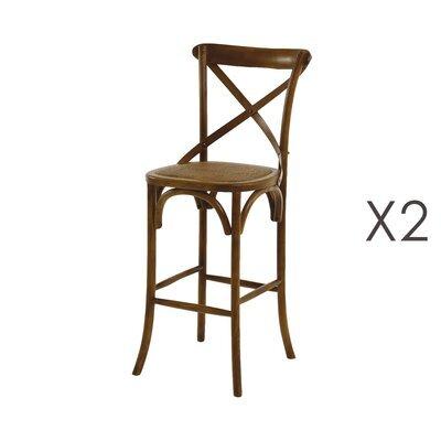 Lot de 2 chaises de bar en rotin et bois - BISTRONO