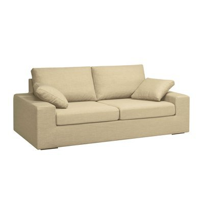 Canapé 3 places convertible 6cm en polyester beige - PLUTON