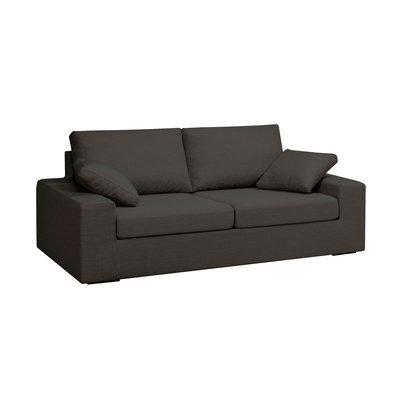 Canapé 3 places convertible 6cm en polyester noir - PLUTON