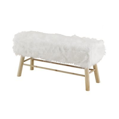 Banc 100 x 37 x 50cm assise fourrure blanche - OLIVE