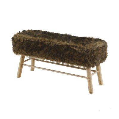 Banc 100 x 37 x 50cm assise fourrure marron - OLIVE