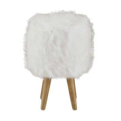 Pouf 28 x 28 x 45cm assise fourrure blanche - OLIVE
