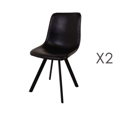 Lot de 2 chaises repas en PU noir - MARGOT