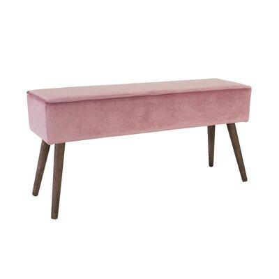 Banc en velours rose et piètement bois - CASANOVA