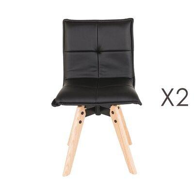 Lot de 2 chaises repas en PU noir et pieds chêne - KALMAR