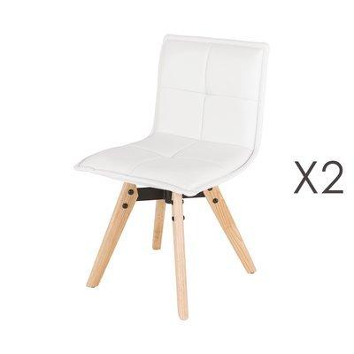 Lot de 2 chaise repas en PU blanc et pieds chêne - KALMAR
