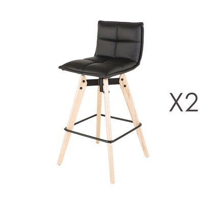 Lot de 2 chaises de bar en PU noir et pieds chêne - KALMAR