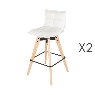 Lot de 2 chaises de bar en PU blanc et pieds chêne - KALMAR