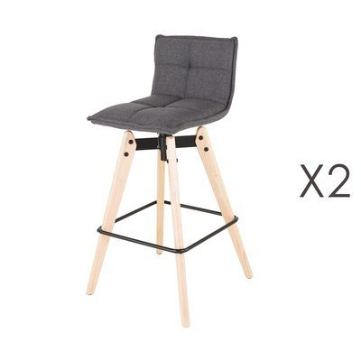 Lot de 2 chaises de bar en tissu gris clair et pieds chêne - KALMAR