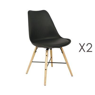 Lot de 2 chaises repas noir piètement bois et métal - LUCIE