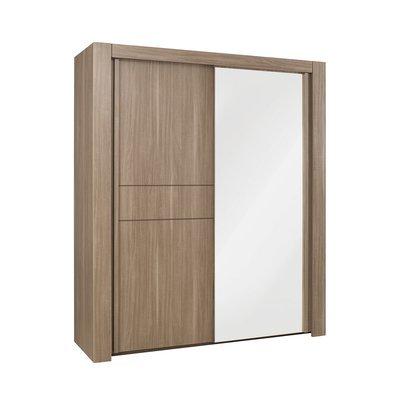 Armoire 2 portes coulissantes + miroir L220cm décor chêne - AGATHE