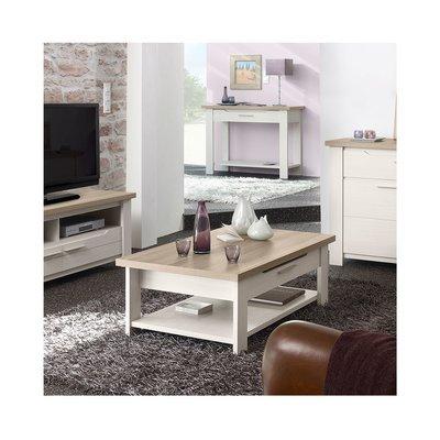 Table basse 116x40x70cm blanc et plateau naturel - CASSANDRE