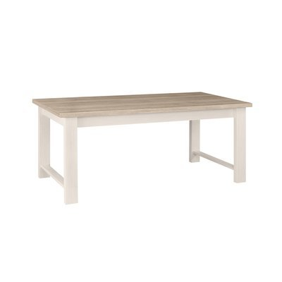 Table repas 180x74x90cm blanc et plateau naturel - CASSANDRE