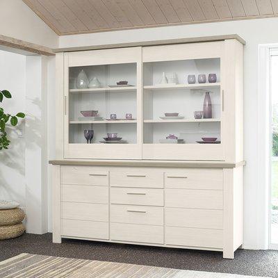 Buffet vaisselier 4 portes 3 tiroirs blanc et naturel - CASSANDRE
