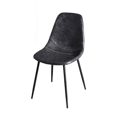 Lot de 2 chaises en PU noir - INDUSTRIO