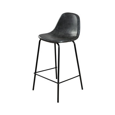 Lot de 2 chaises de bar en PU noir - INDUSTRIO