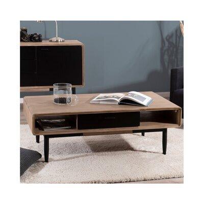 Table basse 2 tiroirs et 2 niches naturel et noir - DANUBE