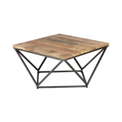 Table basse carré 95 cm en bois et acier - DALBERGIA