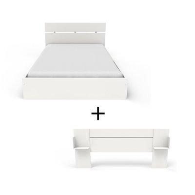 Ensemble lit 140x200 cm + tête de lit blanc - HUGO
