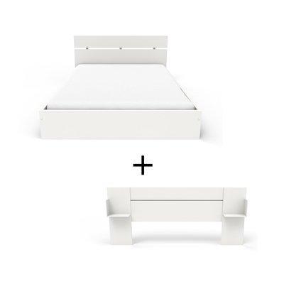Ensemble lit 160x200 cm + tête de lit blanc - HUGO
