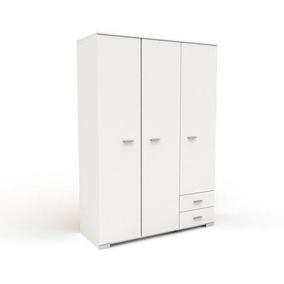 Armoire 3 portes et 2 tiroirs 140,5x203x55 cm blanc - HUGO