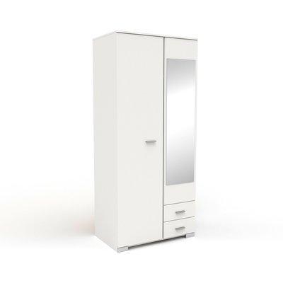 Armoire 2 portes et 2 tiroirs 90x202,8x55 cm blanc - HUGO