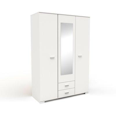 Armoire 3 portes et 2 tiroirs 140,5x202,8x55 cm blanc - HUGO