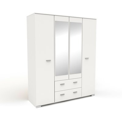 Armoire 4 portes et 2 tiroirs blanc 166,5x202,8x55 cm - HUGO