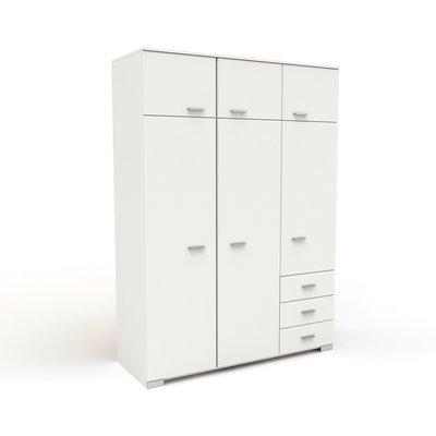 Armoire 6 portes et 2 tiroirs 146x203x55 cm blanc - HUGO