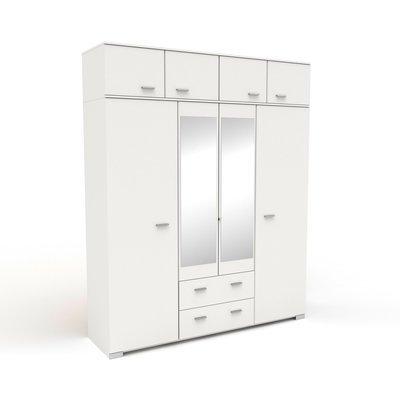 Armoire 8 portes et 2 tiroirs 198x241,5x55 cm blanc - HUGO