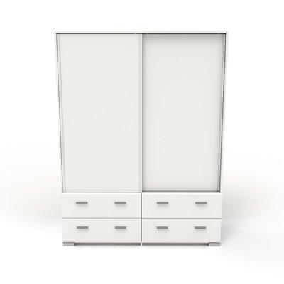 Armoire 2 portes et 4 tiroirs 152,7x202,8x56,5 cm blanc - HUGO